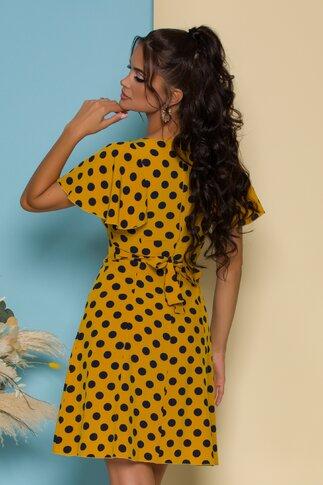 Rochie Elissa galben mustar cu buline bleumarin