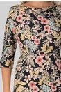 Rochie Eliza bleumarin cu imprimeuri florale si buzunare