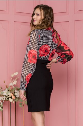 Rochie Eliza neagra cu imprimeu floral rosu si picior de cocos la bust