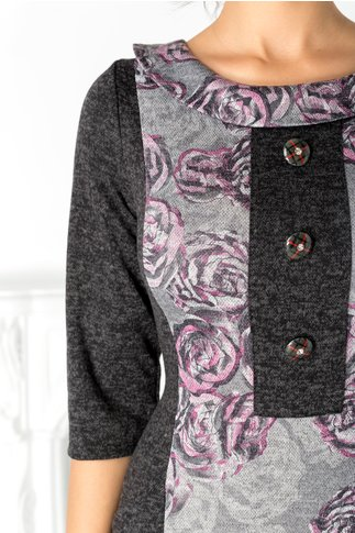 Rochie Eliza neagra cu imprimeu floral roz