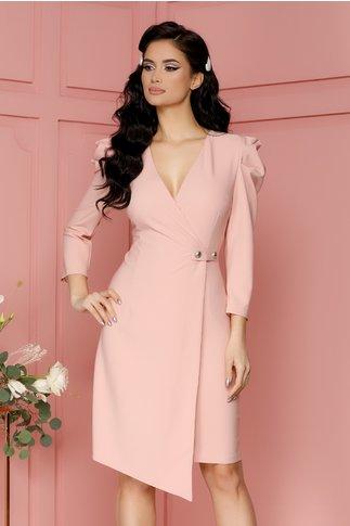 Rochie Eliza roz pudrat cu aspect petrecut