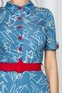 Rochie Elizabeth albastra cu guler tip camasa si curea in talie