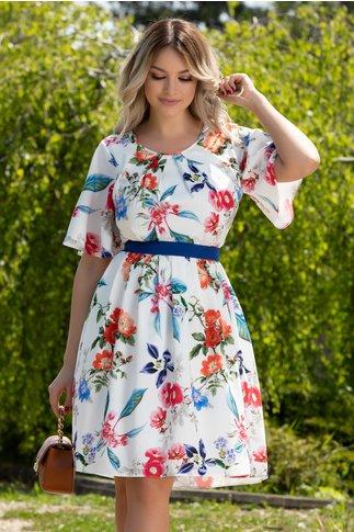 Rochie Elize alba cu imprimeu floral multicolor