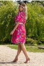 Rochie Elize roz cu imprimeu floral multicolor
