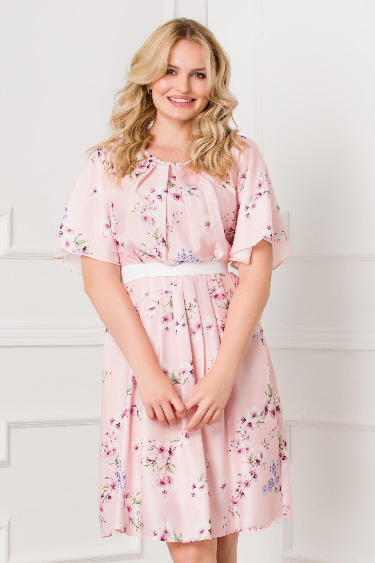 Rochie Elize roz pal cu imprimeu floral pastelat imagine