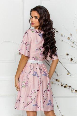 Rochie Elize roz pal cu imprimeu floral pastelat