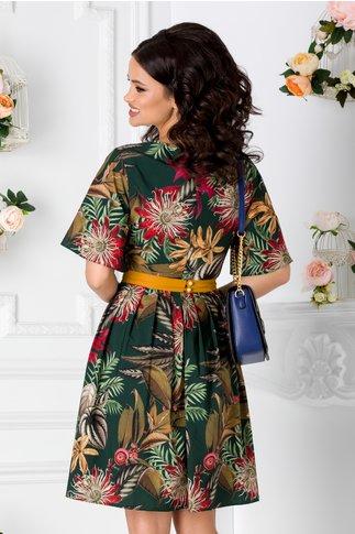 Rochie Elize verde inchis cu imprimeu floral