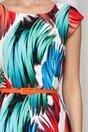 Rochie Ella alba cu imprimeu in culori aprinse