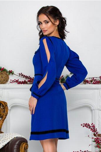 Rochie Ella Collection Alicia albastra cu detalii negre si buzunare decorative