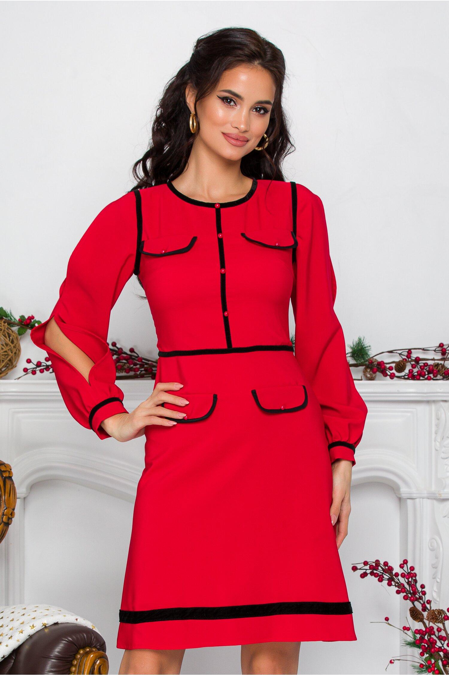Rochie Ella Collection Alicia rosie cu detalii negre si buzunare decorative imagine