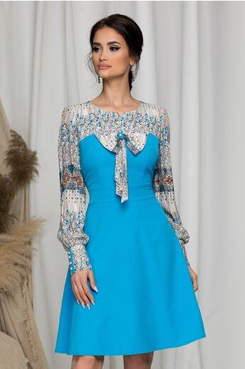 Rochie Ella Collection Andrada albastru deschis cu imprimeuri florale