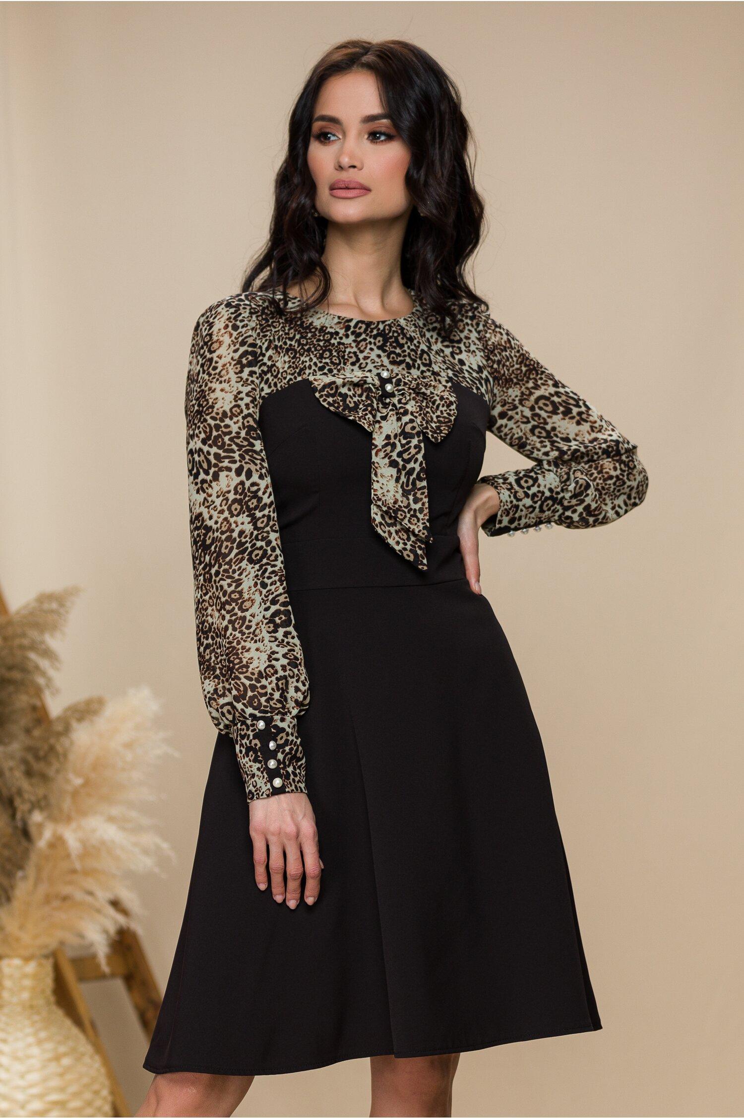 Rochie Ella Collection Andrada neagra cu animal print