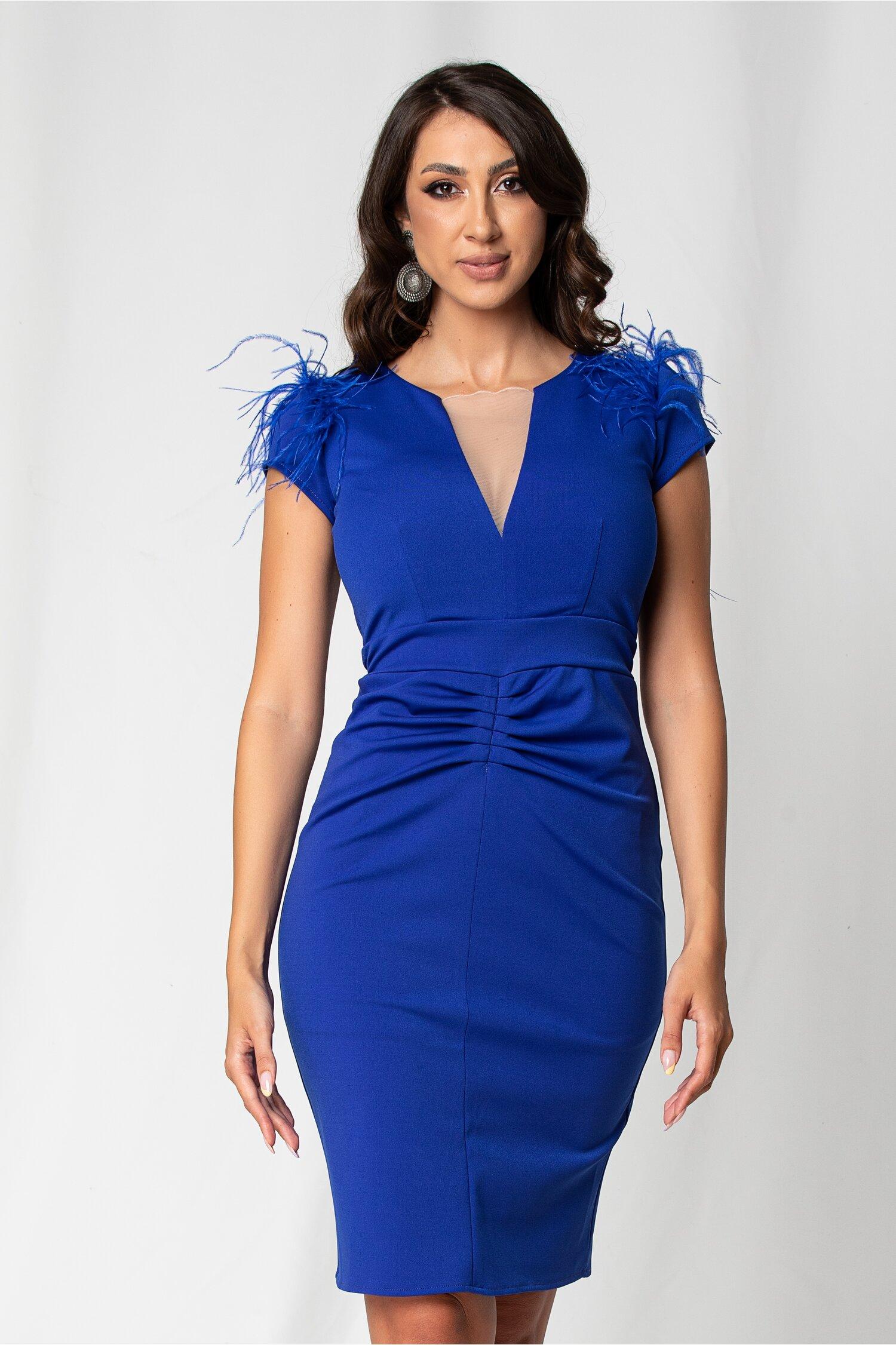 Rochie Ella Collection Any albastra cu pene la umeri fronseuri in fata