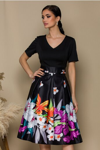 Rochie Ella Collection Azaria neagra cu imprimeuri florale maxi la baza