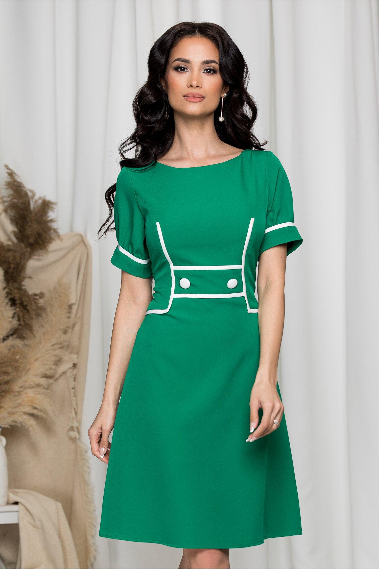 Rochie Ella Collection Bonnie verde cu nasturi decorativi