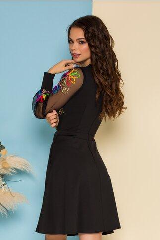 Rochie Ella Collection Carolina neagra cu maneci din tull cu broderie florala 3D multicolora