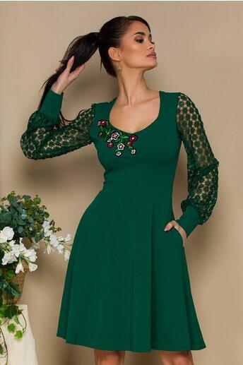 Rochie Ella Collection Carolina verde cu maneci dantela florala