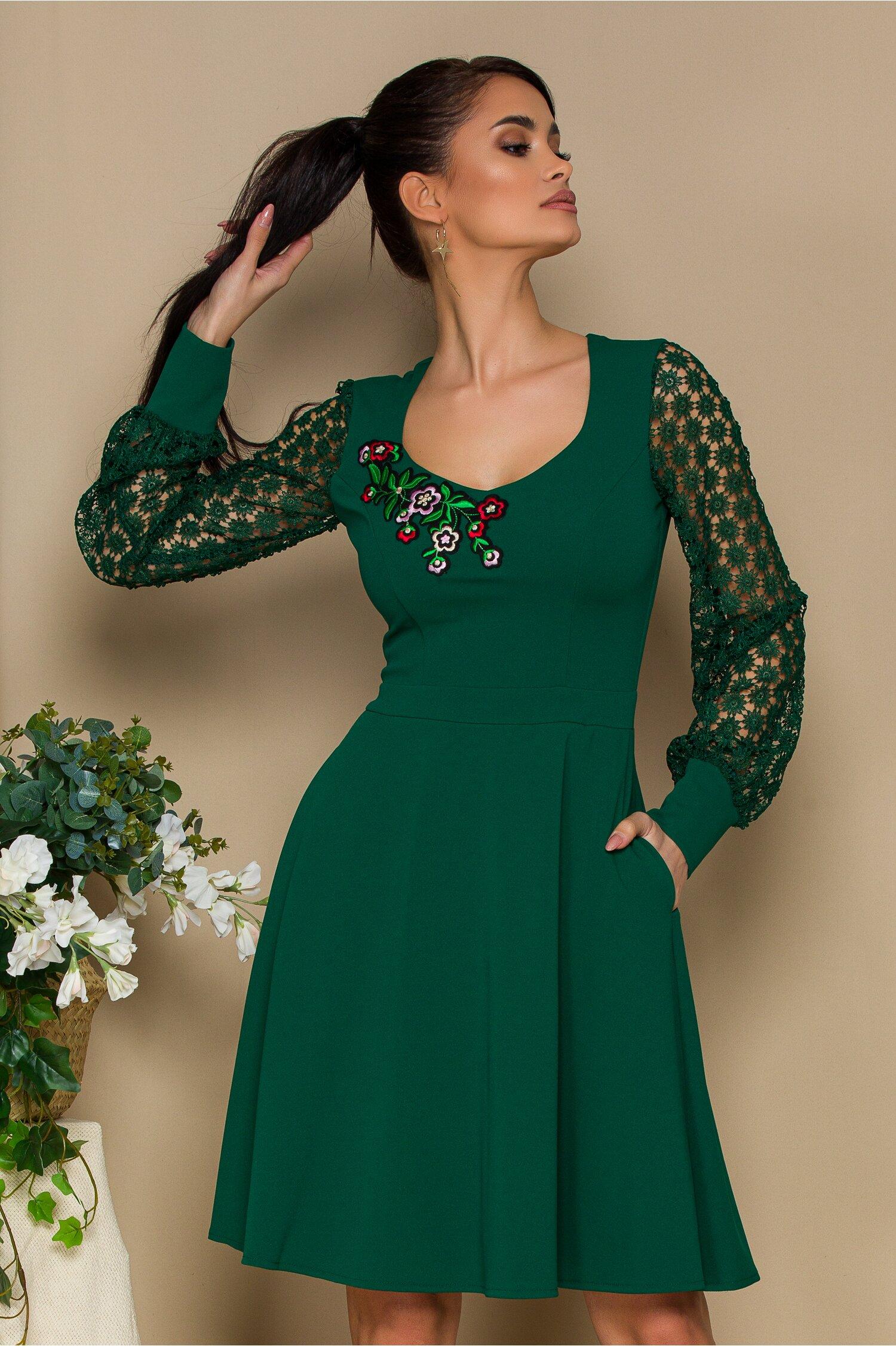 Rochie Ella Collection Carolina verde cu maneci dantela florala imagine dyfashion.ro 2021