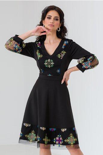 Rochie Ella Collection Cher neagra cu broderie colorata