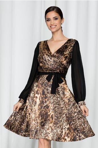 Rochie Ella Collection Delia neagra cu animal print maro