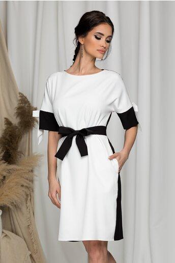 Rochie Ella Collection Demi alb si negru cu fundite la maneci
