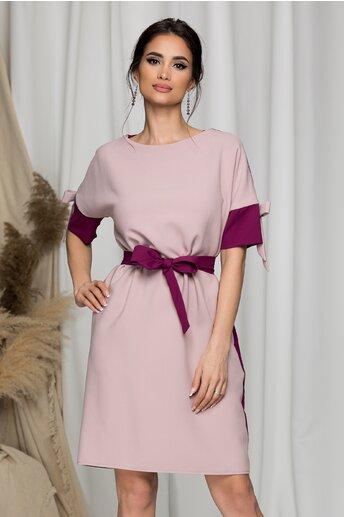 Rochie Ella Collection Demi roz prafuit si magenta cu fundite la maneci