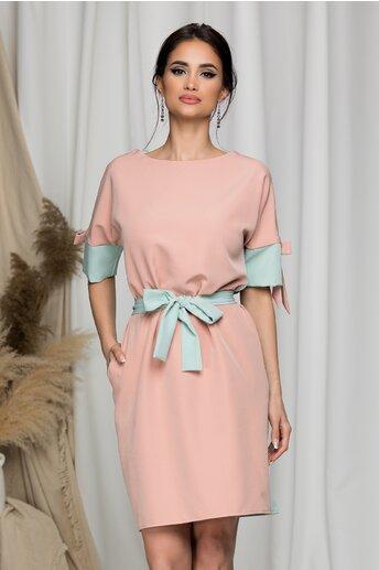 Rochie Ella Collection Demi roz si verde mint cu fundite la maneci