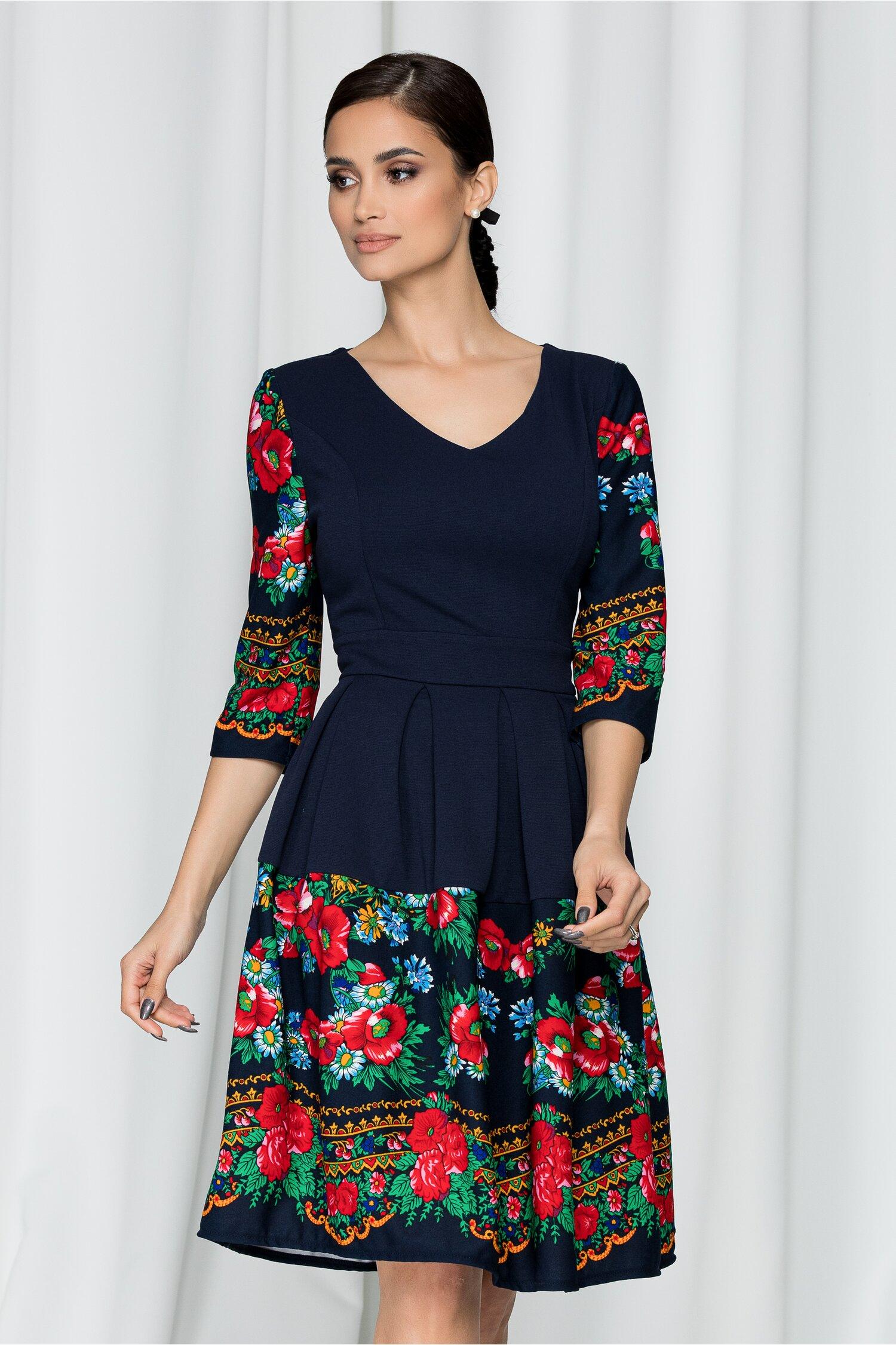 Rochie Ella Collection Despina bleumarin cu decolteu in V si imprimeu floral