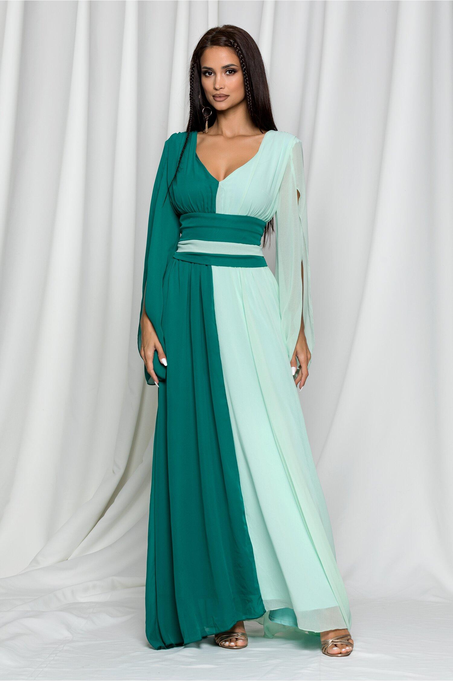 Rochie Ella Collection Diana in doua culori verde