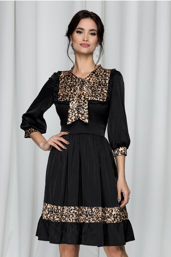 Rochie Ella Collection Donna cu guler tip esarfa si animal print