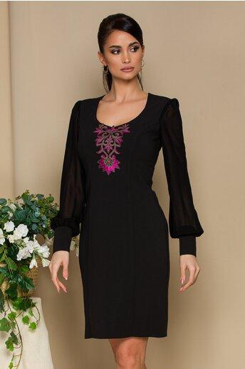 Rochie Ella Collection Elegance neagra cu broderie fucsia si maneci din voal