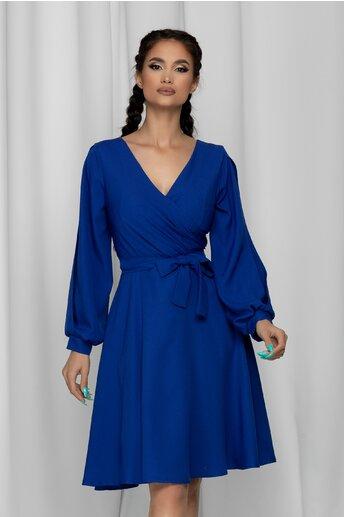 Rochie Ella Collection Ema albastra cu maneci lungi cu decupaj