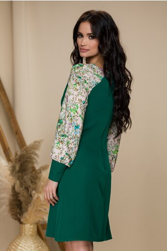Rochie Ella Collection Emilia verde cu imprimeu floral pe maneci