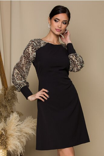 Rochie Ella Collection Estel neagra cu animal print pe maneci