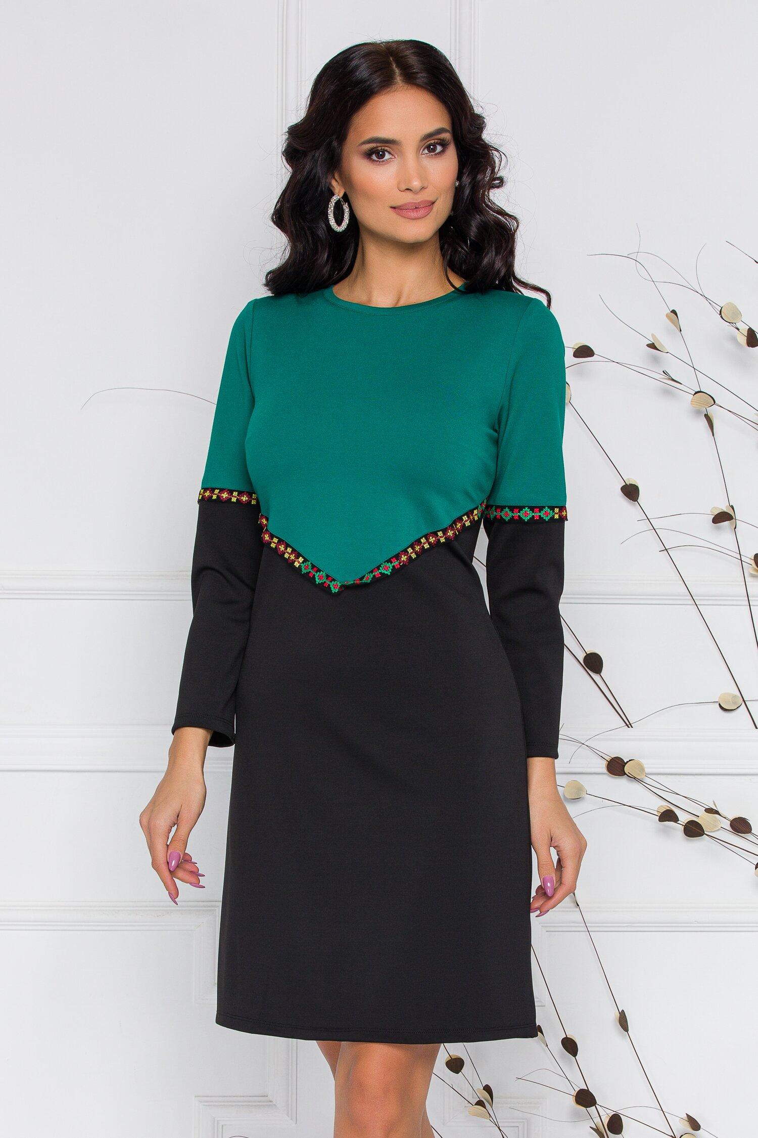Rochie Ella Collection Gabriela neagra cu verde si broderie traditionala