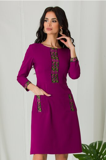 Rochie Ella Collection Ilinca magenta cu benzi decorative