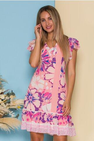 Rochie Ella Collection Joy roz cu imprimeu floral maxi