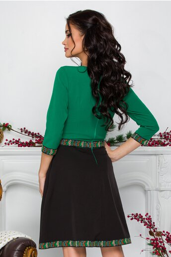 Rochie Ella Collection Lena verde cu benzi decorate floral