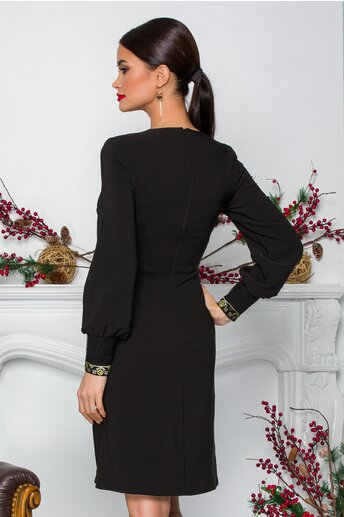 Rochie Ella Collection Lilly neagra cu benzi brodate traditional