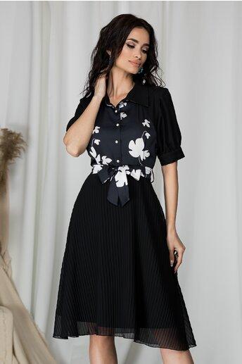 Rochie Ella Collection Lorelai neagra cu flori la bust si fusta din voal