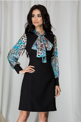 Rochie Ella Collection Luiza neagra imprimeu floral si animal print
