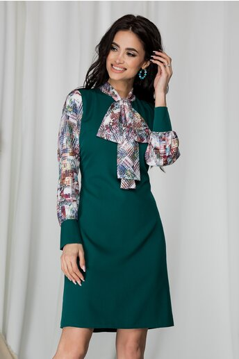 Rochie Ella Collection Luiza verde imprimeu divers