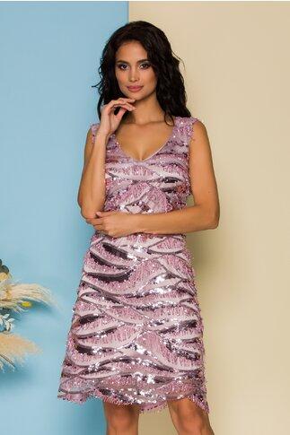 Rochie Ella Collection Lulu roz cu paiete