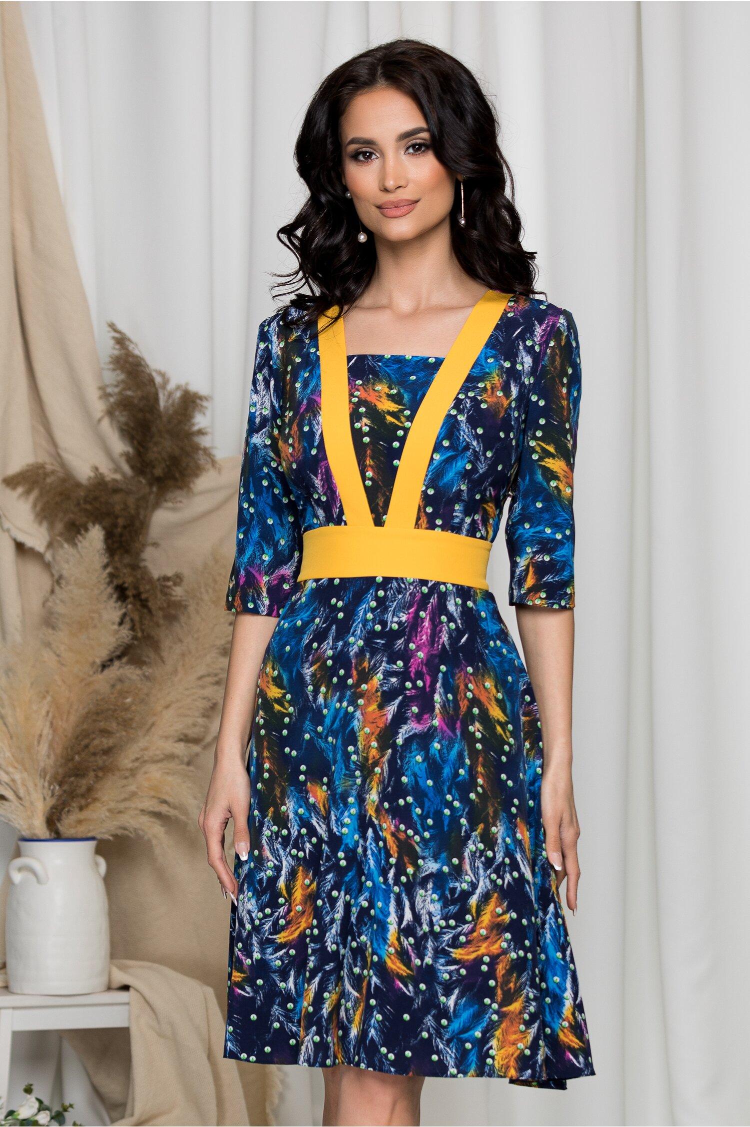 Rochie Ella Collection Luna bleumarin cu imprimeuri diverse