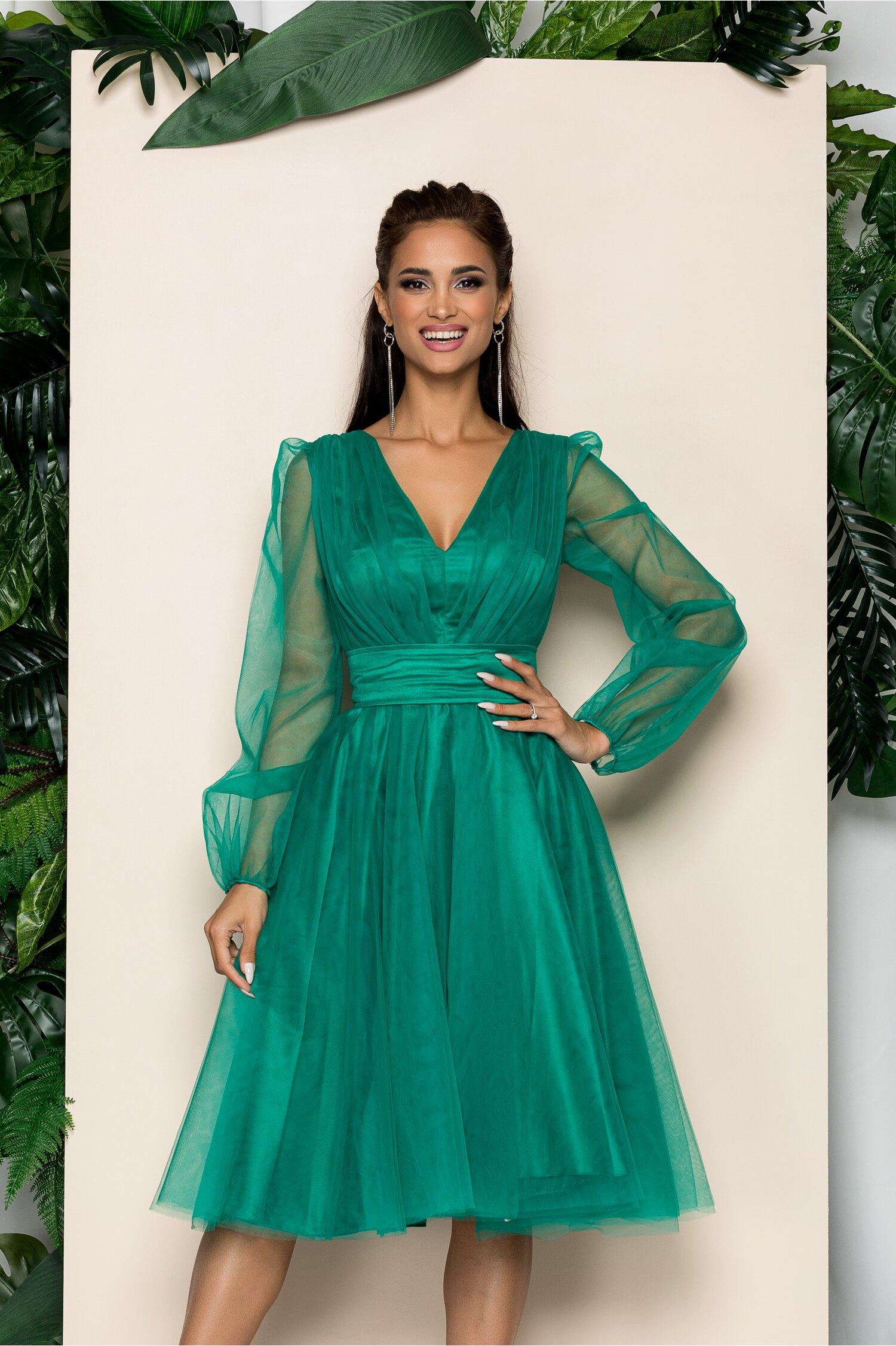 Rochie Ella Collection Madi verde din tulle