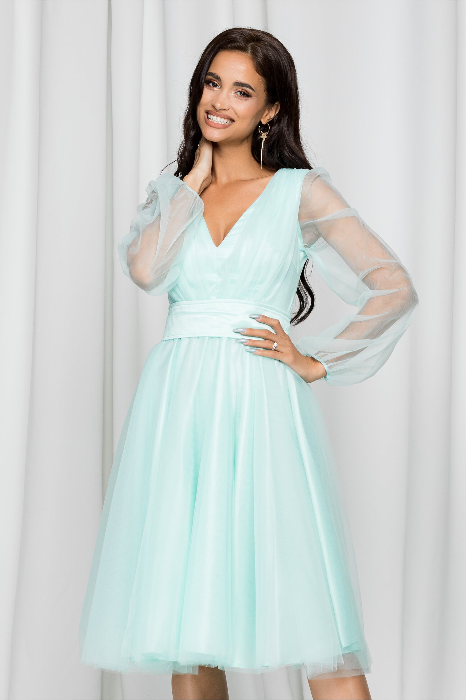 Rochie Ella Collection Madi verde mint din tulle