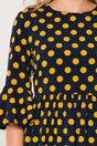 Rochie Ella Collection Marcy bleumarin cu buline galbene
