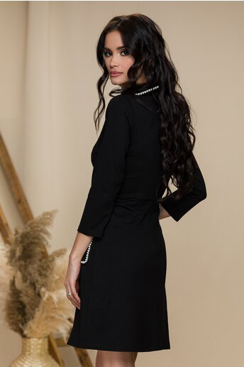 Rochie Ella Collection Maria neagra cu perlute si broderie rosie 3D