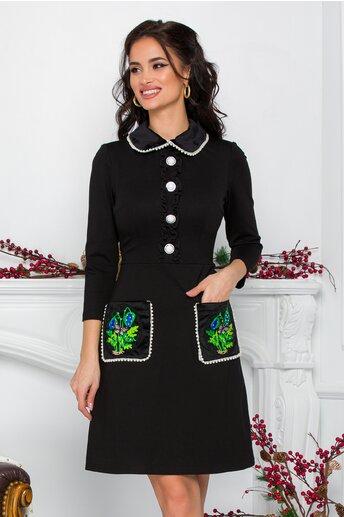 Rochie Ella Collection Maria neagra cu perlute si buzunare cu broderie verde 3D