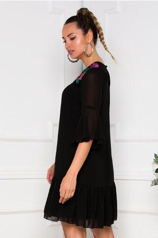 Rochie Ella Collection Maria neagra vaporoasa cu broderie traditionala si maneci evazate